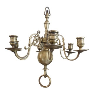 Diminutive Brass Chandelier in the Dutch Manner, 18th Century For Sale