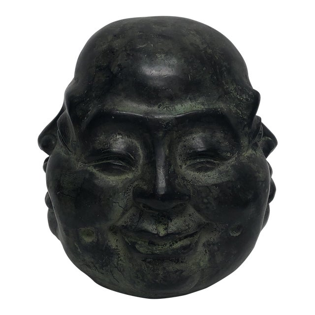 1980s Chinese Metal Oriental Four Face Buddha Figurine - Large For Sale