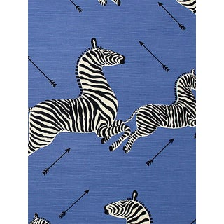 Sample, Scalamandre Zebras, Denim Fabric For Sale
