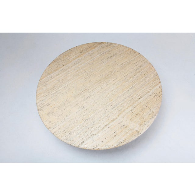 Tan Angelo Mangiarotti Round Travertine Dining Table For Sale - Image 8 of 10