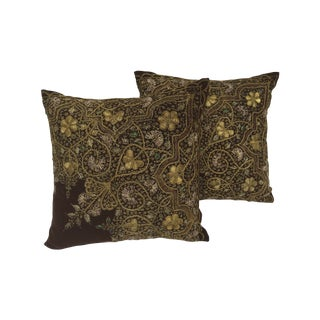 Victorian Gold Embroidered Pillows - A Pair For Sale