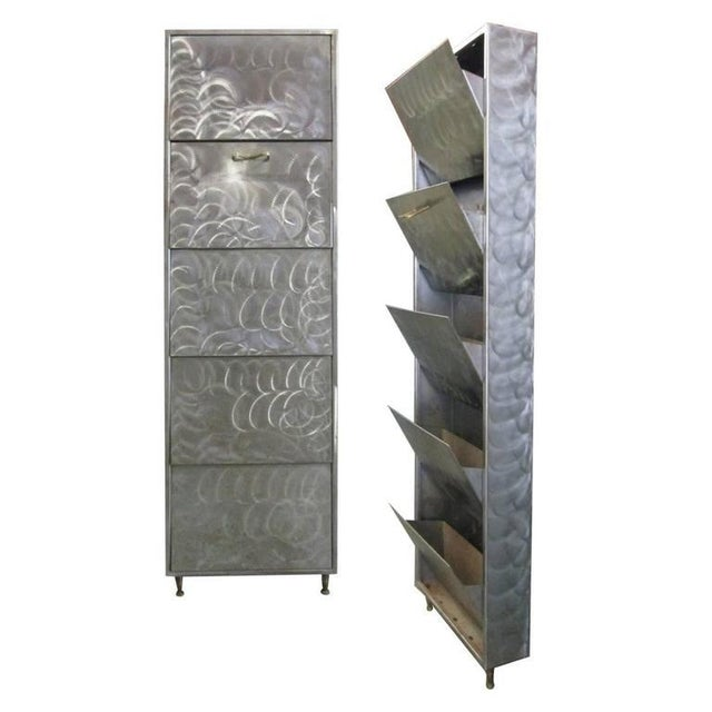 Pair of French Industrial Polished Steel Bronze Mounted Cabinets - Image 8 of 8