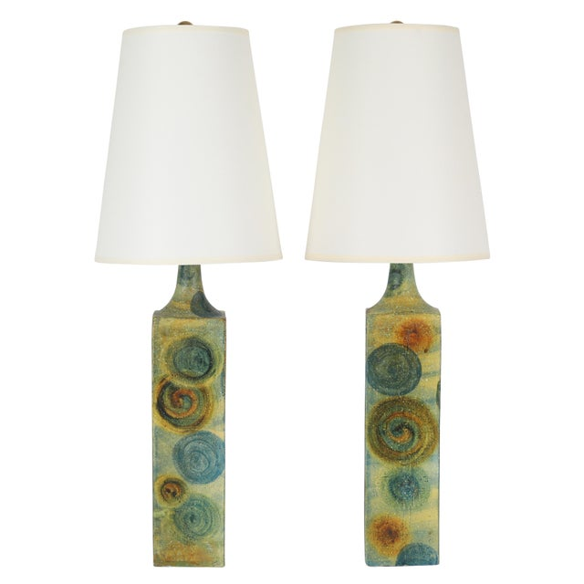 1960's Vintage Marcello Fantoni Ceramic Table Lamps- A Pair For Sale - Image 13 of 13