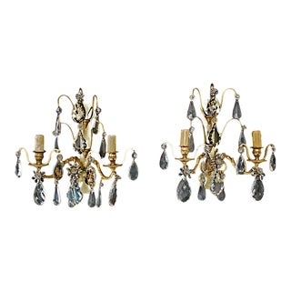 French Bronze/Crystal Sconces Attributed to Bagues - A Pair For Sale