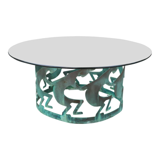 Vintage Beautiful Low Bronze Coffee Table For Sale