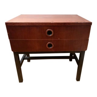 Mid Century Yugoslavian 2 Drawer Small Chest With Recessed Pulls For Sale