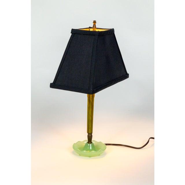 Black Mid-Century Resin & Jadeite Dressing Table Lamp For Sale - Image 8 of 9