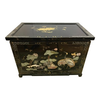20th Century Chinoiserie Black Lacquer and Hardstone Chest For Sale