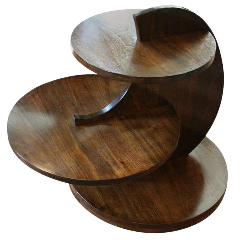 Art Deco Walnut Tiered Circles Table For Sale