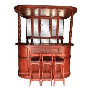 Handmade Wood Liquor Bar & Bar Stools