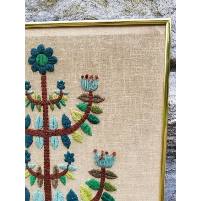 Mid-Century Modern Crewel Embroidered Wall Hanging For Sale - Image 4 of 11
