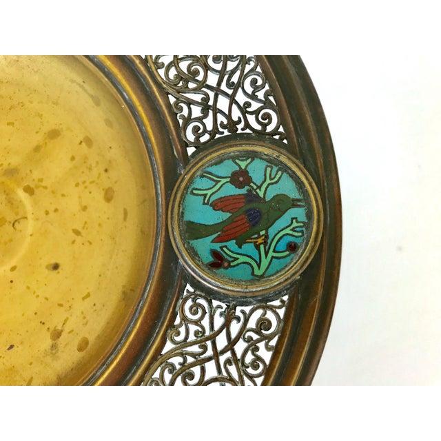 Boho Chic Antique Persian Brass & Enamel Blue Birds Cloisonné Tazza / Centre Piece For Sale - Image 3 of 6