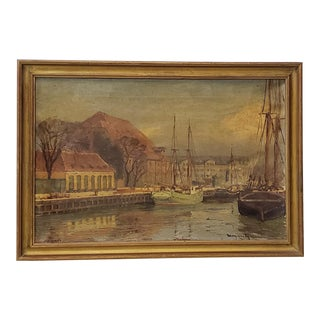 Late 19th to Early 20th Century European Port Scene Oil Painting For Sale