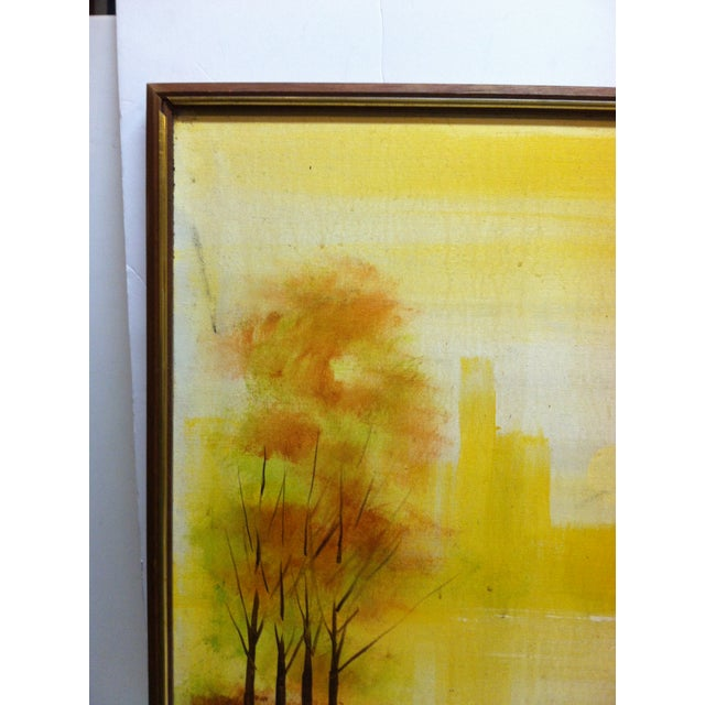 """This is a Large Framed Painting on Canvas that is titled """"Trees In The Skyline"""" done by the Artist named Thomas."""