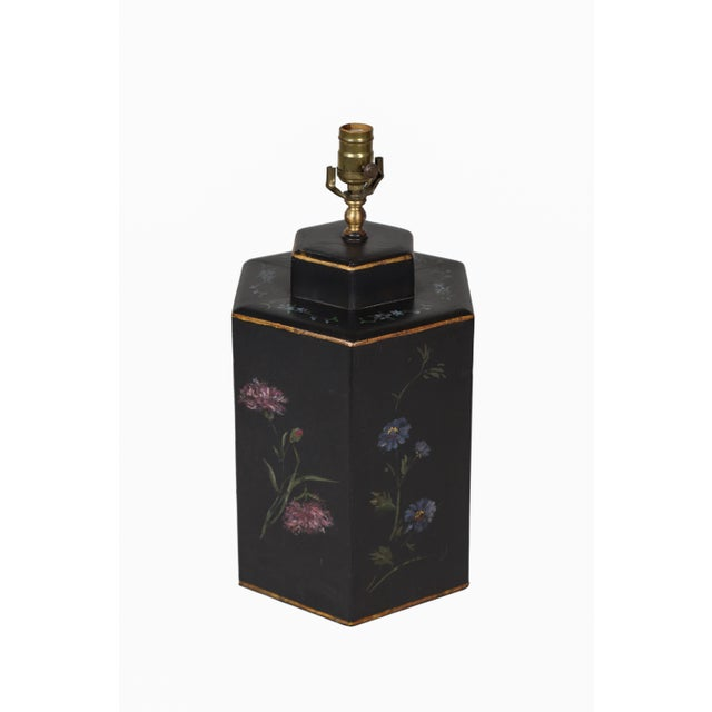 Art Deco Vintage English Export Floral Style Tea Caddy Lamp For Sale - Image 3 of 8