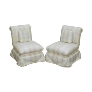 Custom Quality Upholstered Pair of Slipper Chairs For Sale