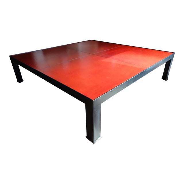 Leather & Metal Coffee Table - Image 1 of 6