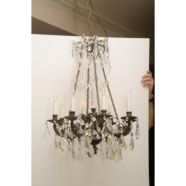 Cast Iron Iron and Crystal Converted Gas Light Chandelier For Sale - Image 7 of 7