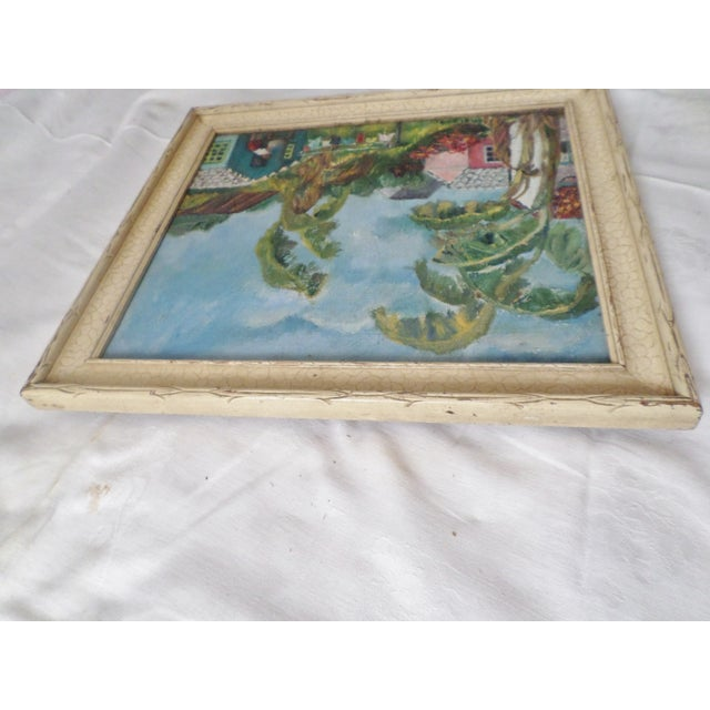 Mid-Century Island Scene Oil Painting For Sale - Image 6 of 12