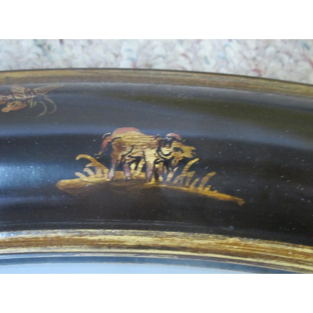 Mid 20th Century Chinoiserie Round Black Lacquer Mirror With Gold Gilt Butterfly Flower and Animal Motif For Sale - Image 5 of 7