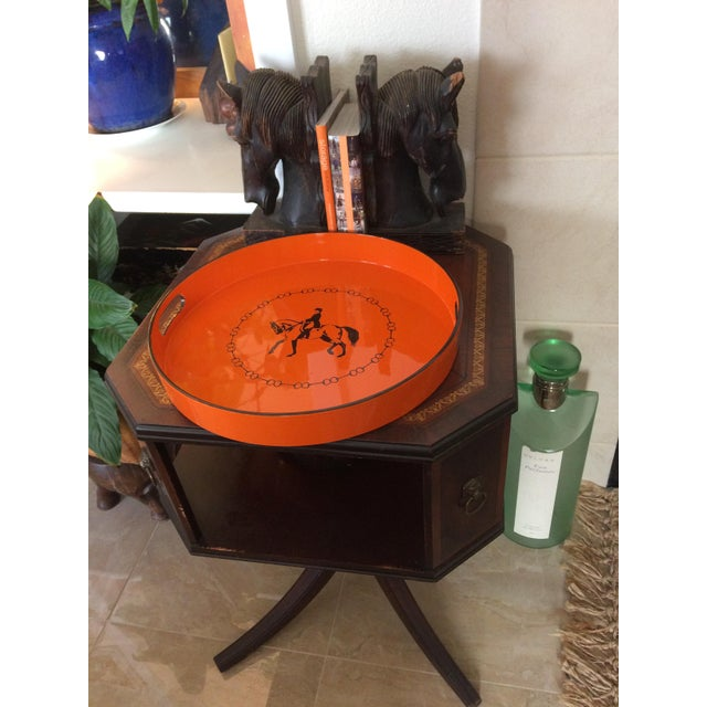 French Hermes-Inspired Orange Equestrian Serving Tray For Sale - Image 3 of 10