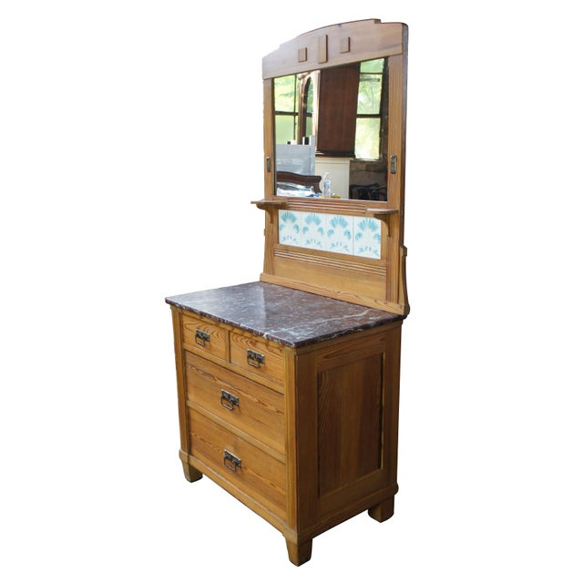 Victorian Victorian Antique Pine Marble Top Storage Cabinet For Sale - Image 3 of 13