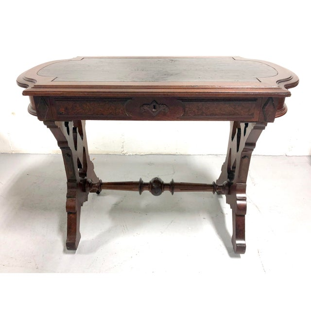 Traditional Eastlake Victorian Leather Top Mahogany Hall Table For Sale - Image 3 of 13