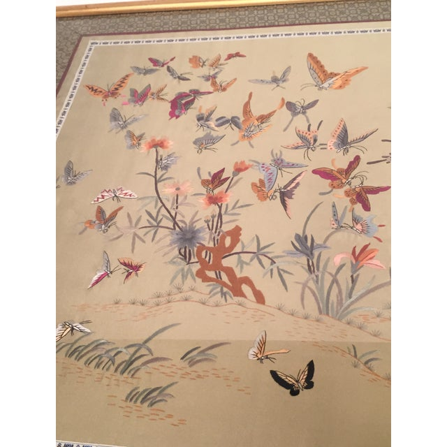 Antique Chinese Butterfly Garden Framed Embroidery - Image 6 of 11