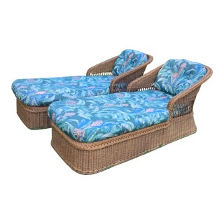 Vintage Henry Link Rattan Chaise Lounge Chairs - a Pair For Sale