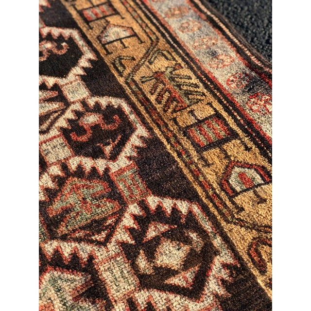 1950s Vintage Persian Meshkin Runner Rug - 3′10″ × 13′2″ For Sale - Image 10 of 13