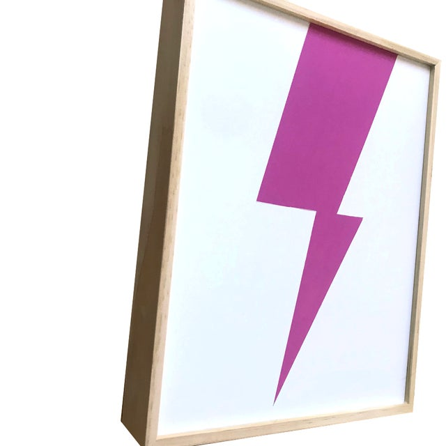 """""""Pink lightning"""" is an original painting from Max and Alma Wolf from their Abstract Lightning series in which the artists..."""