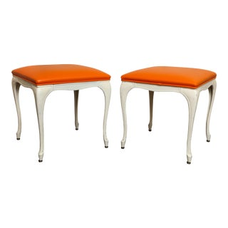 Mid-Century Modern Painted White Metal Benches or Stools - a Pair