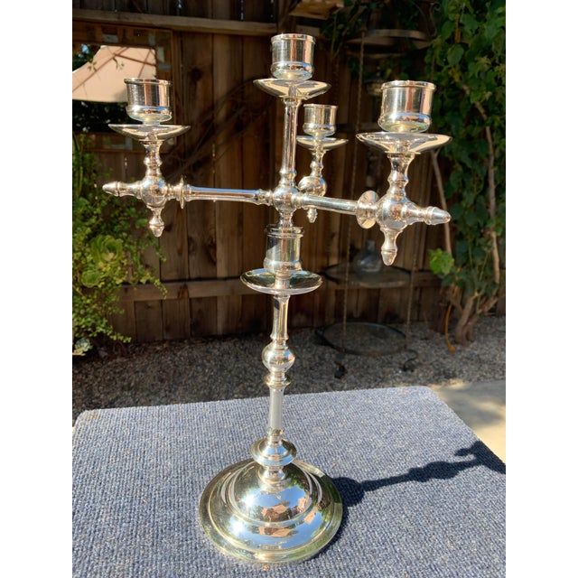 Metal Fraget N Plague Polish Aesthetic Movement Silver Plate Candelabra For Sale - Image 7 of 10
