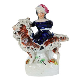 Antique English Staffordshire Girl on Goat For Sale
