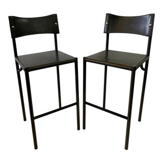 Italian Stitched Leather Bar Stools- a Pair For Sale