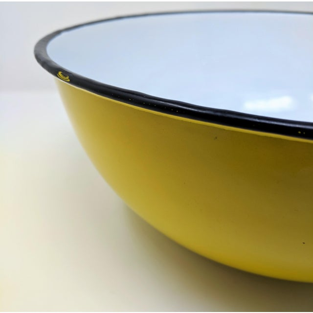 Asian Vintage Otto Japanese Yellow Enameled Metal Bowl For Sale - Image 3 of 8