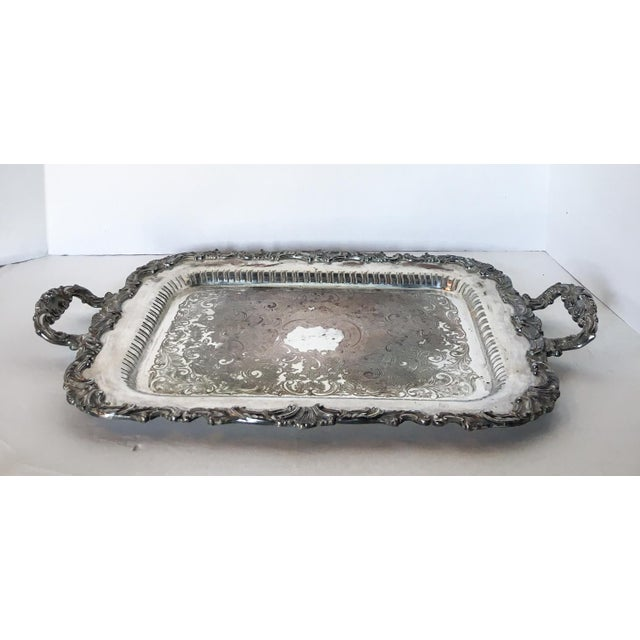 Antique Silverplate Filigree Tray With Handles For Sale - Image 5 of 6