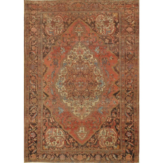 Pasargad Ny Antique Persian Sarouk Farahan Hand Knotted Rug - 8′6″ × 12′3″ For Sale - Image 4 of 4