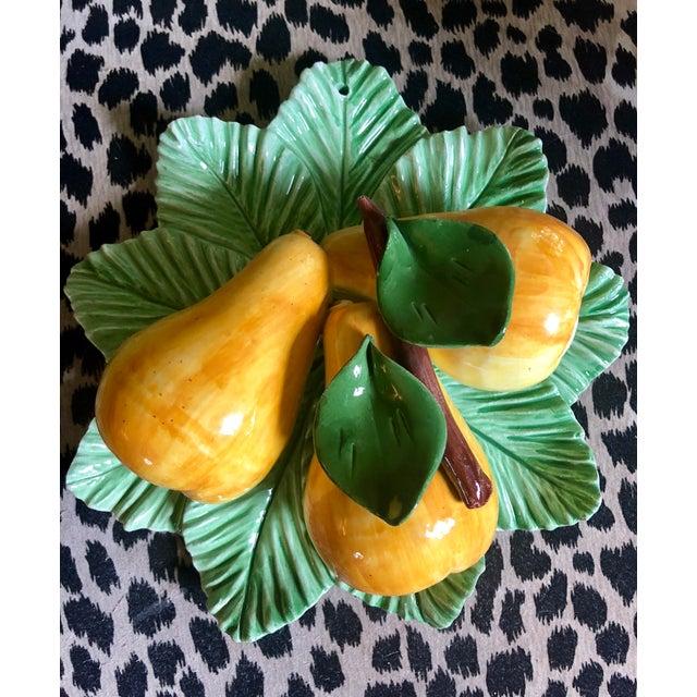 Green Italian Trompe L'oeil Ceramic Pear Plate For Sale - Image 8 of 10