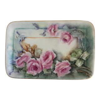 Vintage Pink Roses Austrian Tray For Sale