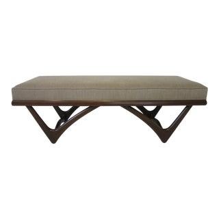 Sculptural Upholstered Walnut Finished Bench For Sale