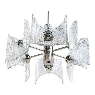 Mid-Century Modern Starburst Chandelier With Ice Glass Design by Kalmar For Sale