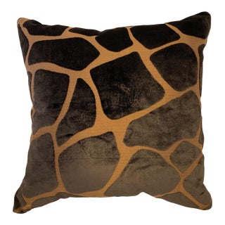"Barclay Butera ""Safariya"" Brown Velvet Giraffe Pattern Throw Pillow Cover For Sale"