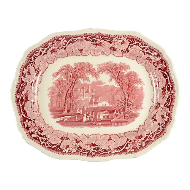 "Mason's Vista Pink 19"" Oval Serving Platter For Sale"