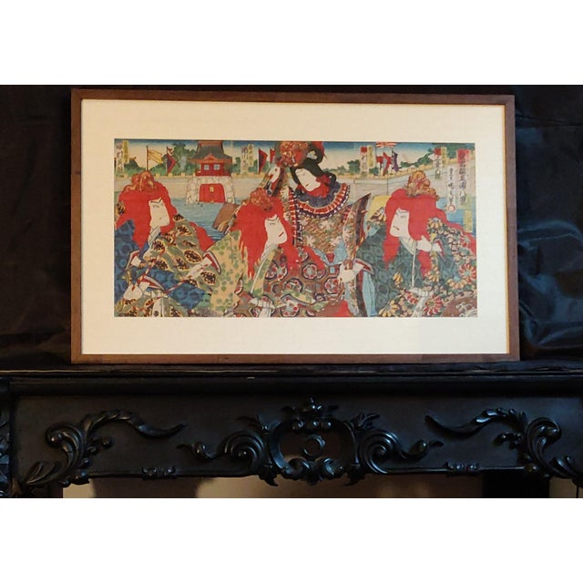 Paper Late 19th Century Antique Meiji Period Kunichika Japanese Triptych Woodblock Print For Sale - Image 7 of 7