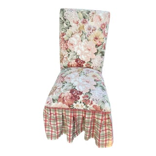 Vintage Shabby Chic Cottage Skirted Floral Chair With Bows For Sale
