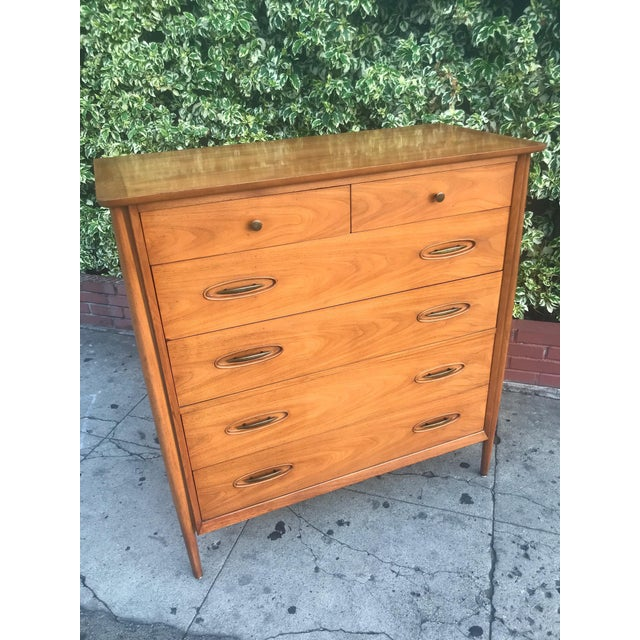 Mid-Century Tall Boy Dresser by Morganton For Sale In Los Angeles - Image 6 of 13