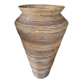 Vintage Pencil Reed Rattan Vase For Sale