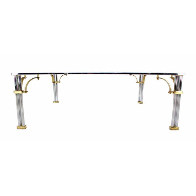 Large Square Mid-Century Modern Brass Chrome and Glass Coffee Table For Sale - Image 4 of 9