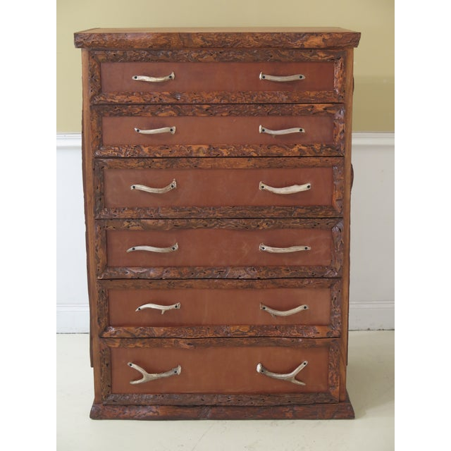 1990s Adirondack Style 6 Drawer High Chest For Sale - Image 12 of 12